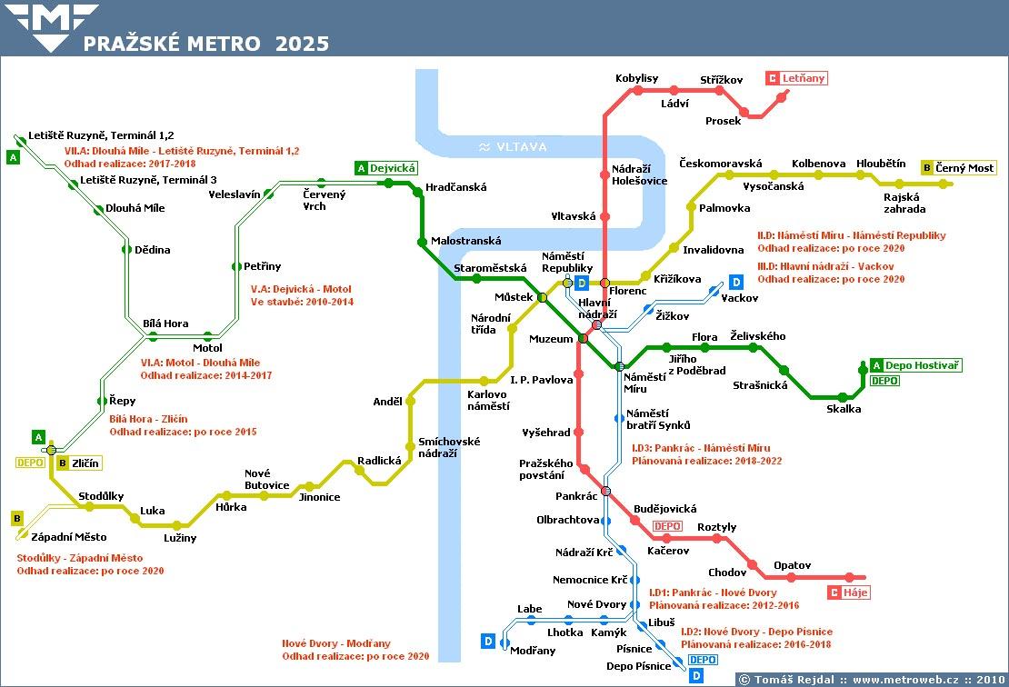 Пражское метро к 2025 году