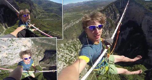 Молодой чех побил мировой рекорд в слэклайне
